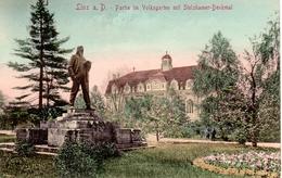 LINZ A.d Donau, Partie Im Volksgarten Mit Stelzhamer-Denkmal, Verlag J.B.L. 1911, 11.10.1913 - Linz