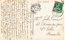 484/27 -- Carte Fantaisie TP Pellens DEUX ACREN 8 VIII 1914 Vers BXL - PREMIERS JOURS DE GUERRE - Guerre 14-18