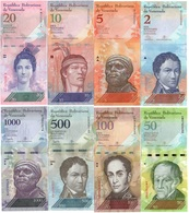 Venezuela - Set 13 Banknotes 2 5 10 20 50 100 500 1000 2000 5000 10000 20000 100000 Bolivares 2007 - 2017 UNC Lemberg-Zp - Venezuela