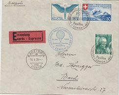 Suisse Suisse 1939: Ballon Flug Zur Expo Mit Zu 227+F10 Mi 189+343 Mit O ZÜRICH 14.V.39 PTT-Pavillon Nach BÄRETSWIL - Airships