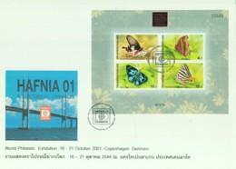 BUTTERFLIES  - THAILAND - 2001 - BUTTERFLIES  S/SHEET OVERPRINTED HAFNIA  ON ILLUSTRATED FDC, SELDOM SEEN ITEM - Vlinders