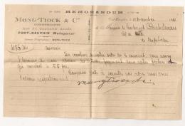 1921 MADAGASCAR  MONG-TIOCK FORT DAUPHIN A LIEUTENANT CHEF DE POSTE DE BEFOTAKA / 1 ENVELOPPE  2 MEMOS  B405 - Factures & Documents Commerciaux