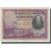 Billet, Espagne, 50 Pesetas, 1928, 1928-08-15, KM:75a, TB - [ 1] …-1931 : Eerste Biljeten (Banco De España)