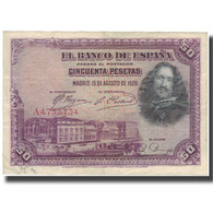 Billet, Espagne, 50 Pesetas, 1928, 1928-08-15, KM:75a, TTB - [ 1] …-1931 : Prime Banconote (Banco De España)