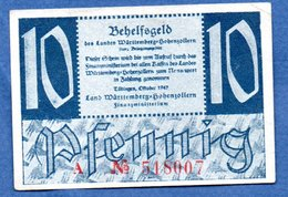 Württemberg-  10 Pfennig  10/1947-    - Ros # 215 -  état  TB  - Plis Marqué Non Visible Sur Le Scan - [11] Lokale Uitgaven