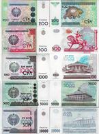 Uzbekistan 1997-2017 - Set 5 Pcs 200+500+1000+5000+10000 Sum - Pick 80-84 UNC - Ouzbékistan