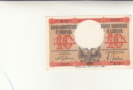 10 Lek  Banca D'Italia, Occupazione Italiana Dell'Albania 1940 Spl++ - Albania