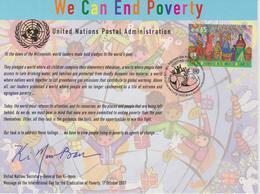 United Nations Special Card With Mi 548 International Day Of The Eradication Of Poverty - Cancellation Vienna - 2008 - Wenen - Kantoor Van De Verenigde Naties