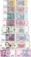 Ukraine Set 8 Pcs 1+2+5+10+20+50+100+200 Hryvnia - Pick 116-126 UNC - Random Years - Oekraïne