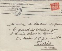 LETTRE INDOCHINE. 18 JUIN 34. V. LACOMBE MAITRE CORDONNIER SAIGON TONKIN POUR PARIS. - Storia Postale