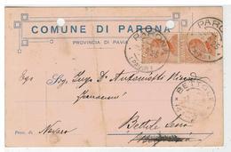 Cartolina Comune Di Parona Con Autografo Del Sindaco Signorelli - Lomellina - Pavia