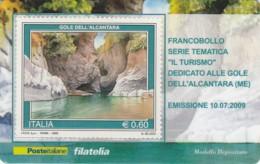 TESSERA FILATELICA  GOLE DELL'ALCANTARA VALORE 0,6 ANNO 2009  (TF138 - Philatelic Cards