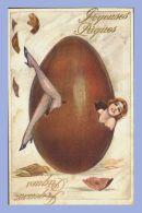 CPA - Joyeuses Pâques - Fantaisie Charme - 525. Femme Sortant D'un Âœuf En Chocolat  // Jambes - Women