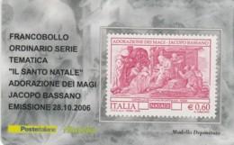 TESSERA FILATELICA  ADORAZIONE MAGI BASSANO VALORE 0,6 ANNO 2006  (TF368 - 1946-.. République