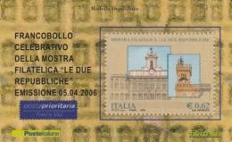 TESSERA FILATELICA  MOSTRA FILATELICA LE DUE REPUBBLICA VALORE 0,62 ANNO 2006  (TF369 - 1946-.. République