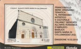 TESSERA FILATELICA  L'AQUILA-COLLEMAGGIO VALORE 0,6 ANNO 2010  (TF370 - 1946-.. République