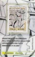 TESSERA FILATELICA  OPPORTUNITA' PER TUTTI VALORE 0,6 ANNO 2007  (TF373 - 1946-.. République