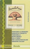TESSERA FILATELICA  CANTAUTORI ITALIANI VALORE 0,6 ANNO 2007  (TF374 - 1946-.. République