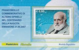 TESSERA FILATELICA  ALTIERO SPINELLI VALORE 0,6 ANNO 2007  (TF375 - 1946-.. République