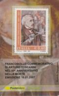 TESSERA FILATELICA  ARTURO TOSCANINI VALORE 0,6 ANNO 2007  (TF378 - 1946-.. République