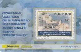 TESSERA FILATELICA  FONDAZIONE GENOVESI SALERNO VALORE 0,6 ANNO 2007  (TF379 - 1946-.. République