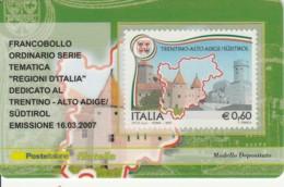 TESSERA FILATELICA  TRENTINO AA VALORE 0,6 ANNO 2007  (TF383 - 1946-.. République