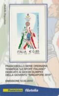 TESSERA FILATELICA  GIOCHI GIOVENTU' SINGAPORE 2010 VALORE 0,85 ANNO 2010  (TF384 - 1946-.. République