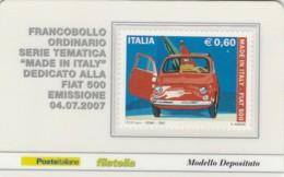 TESSERA FILATELICA  FIAT 500 VALORE 0,6 ANNO 2007  (TF387 - 1946-.. République