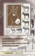 TESSERA FILATELICA  RAZZE DI ASINI VALORE 0,6 ANNO 2007  (TF394 - 1946-.. République