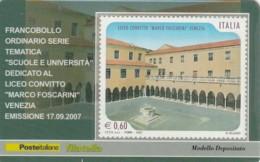 TESSERA FILATELICA  LICEO FOSCARINI VENEZIA VALORE 0,6 ANNO 2007  (TF396 - 1946-.. République