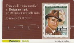 TESSERA FILATELICA  BENIAMINO GIGLI VALORE 0,6 ANNO 2007  (TF402 - 1946-.. République