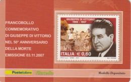 TESSERA FILATELICA  GIUSEPPE DI VITTORIO  VALORE 0,6 ANNO 2007  (TF404 - 1946-.. République