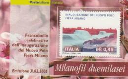 TESSERA FILATELICA  NUOVO POLO FIERA MILANO VALORE 0,45 ANNO 2005  (TF405 - 1946-.. République