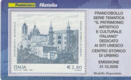 TESSERA FILATELICA  URBINO VALORE 2,8 ANNO 2008  (TF408 - 1946-.. République