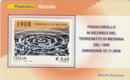 TESSERA FILATELICA  TERREMOTO MESSINA VALORE 0,6 ANNO 2008  (TF412 - 1946-.. République