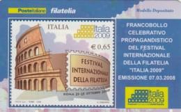 TESSERA FILATELICA  FESTIVAL INTERN. FILATELIA VALORE 0,65 ANNO 2008  (TF413 - 1946-.. République