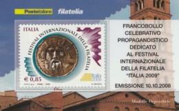 TESSERA FILATELICA  FESTIVAL INTERN. FILATELIA VALORE 0,85 ANNO 2009  (TF415 - 1946-.. République