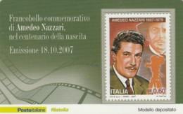 TESSERA FILATELICA  AMEDEO NAZZARI VALORE 0,6 ANNO 2007  (TF428 - 1946-.. République