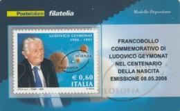 TESSERA FILATELICA  LUDOVICO GEYMONAT VALORE 0,6 ANNO 2008  (TF430 - 1946-.. République