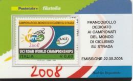 TESSERA FILATELICA  CAMP. MONDIALE UCI VALORE 0,6 ANNO 2008  (TF431 - 1946-.. République