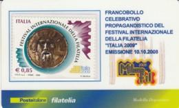 TESSERA FILATELICA  FESTIVAL INTERN. FILATELIA VALORE 0,85 ANNO 2008  (TF434 - 1946-.. République