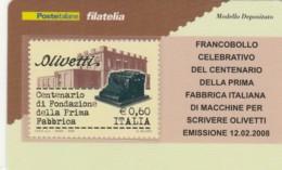 TESSERA FILATELICA  OLIVETTI VALORE 0,6 ANNO 2008  (TF438 - 1946-.. République