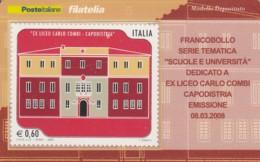 TESSERA FILATELICA  LICEO CARLO COMBI CAPODISTRIA VALORE 0,6 ANNO 2008  (TF439 - 1946-.. République