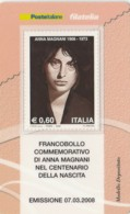 TESSERA FILATELICA  ANNA MAGNANI VALORE 0,6 ANNO 2008  (TF440 - 1946-.. République