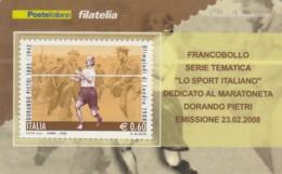 TESSERA FILATELICA  DORANDO PIETRI VALORE 0,6 ANNO 2008  (TF444 - 1946-.. République