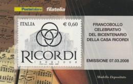 TESSERA FILATELICA  RICORDI VALORE 0,6 ANNO 2008  (TF445 - 1946-.. République