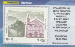 TESSERA FILATELICA  VAL D'ORCIA VALORE 0,6 ANNO 2008  (TF446 - 1946-.. République