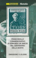 TESSERA FILATELICA  DE AMICIS VALORE 0,6 ANNO 2008  (TF447 - 1946-.. République