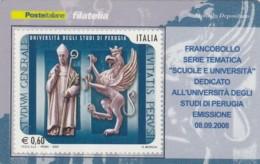 TESSERA FILATELICA  UNIVERSITA' PERUGIA VALORE 0,6 ANNO 2008  (TF448 - 1946-.. République