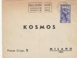LETTERA 1951 CON L.20 ITALIA AL LAVORO TIMBRO VAI BERGAMASCHE Aperta 2 Lati (LN97 - 6. 1946-.. Repubblica